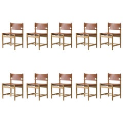 Borge Mogensen Spanish Dining Chair, Soaped Oak, Natural Leather, Set of 10