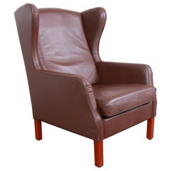 Borge Mogensen Style Danish Modern Brown Leather Wingback Lounge Chair