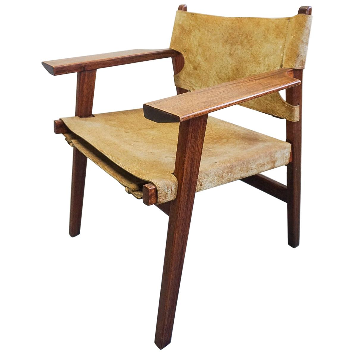 Borge Mogensen style leather sling chair