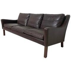 Borge Mogensen Style Leather Three-Seat Sofa by Vemb Polstermobelfabrik, Denmark
