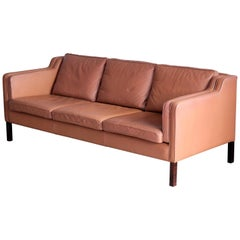 Borge Mogensen Style Model 2213 Three-Seat Sofa in Cognac Leather by Stouby