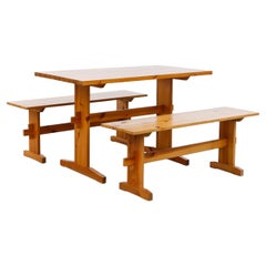 Borge Mogensen Style Pine Table and Bench Set