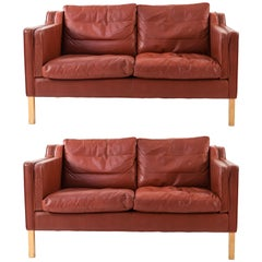 Borge Mogensen Style Stouby Indian Red Leather Loveseat, Danish Midcentury, Pair