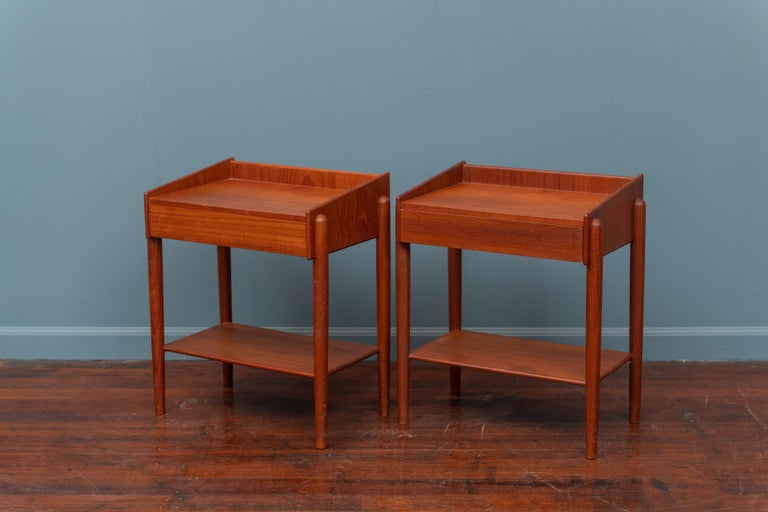 Pair of Borge Mogensen teak nightstands for Soborg Mobler, Denmark. In very good vintage condition, labelled.