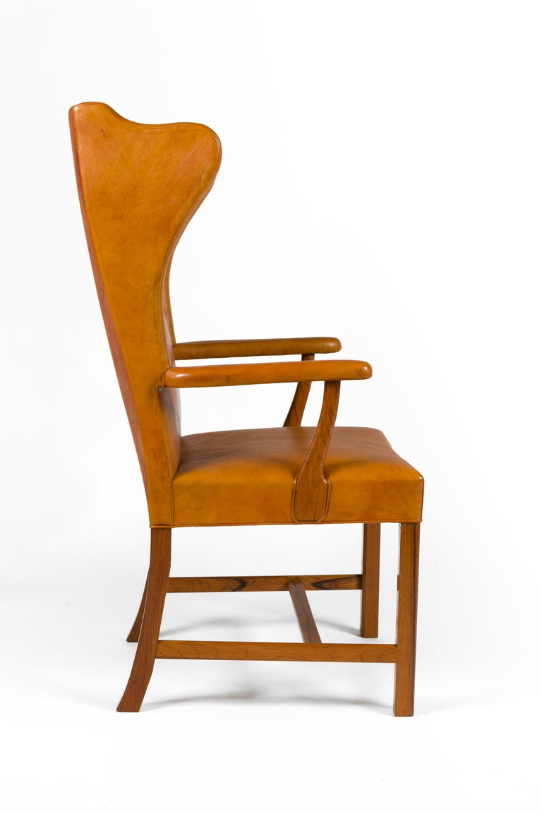 Scandinavian Modern Borge Mogensen Vintage Leather High Back Arm Chair, Denmark 1947 For Sale
