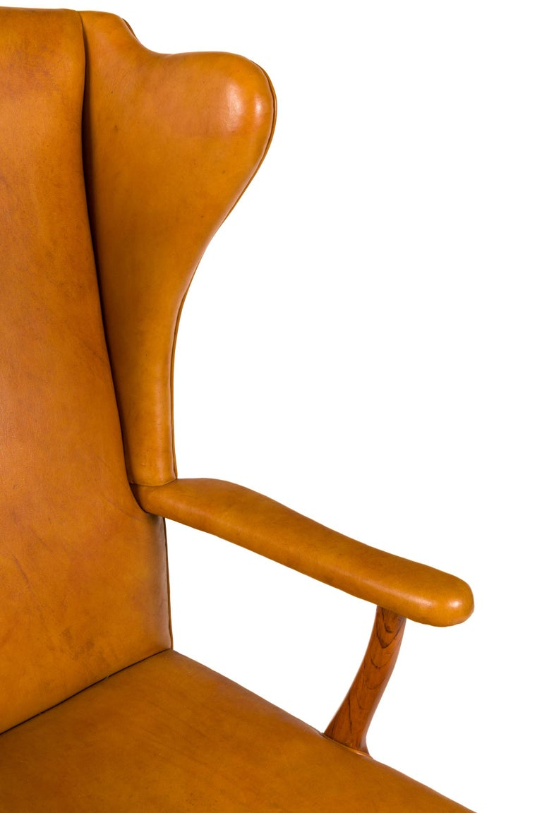 Borge Mogensen Vintage Leather High Back Arm Chair, Denmark 1947 In Good Condition For Sale In New York, NY