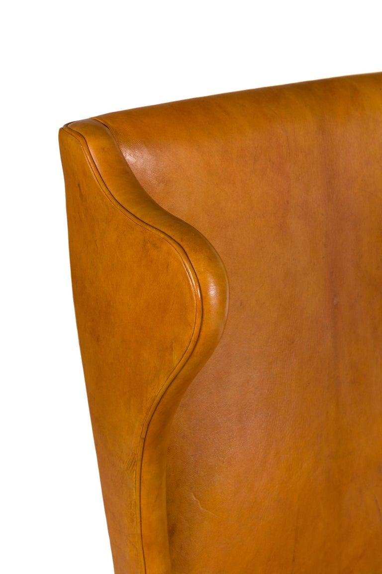 Mid-20th Century Borge Mogensen Vintage Leather High Back Arm Chair, Denmark 1947 For Sale