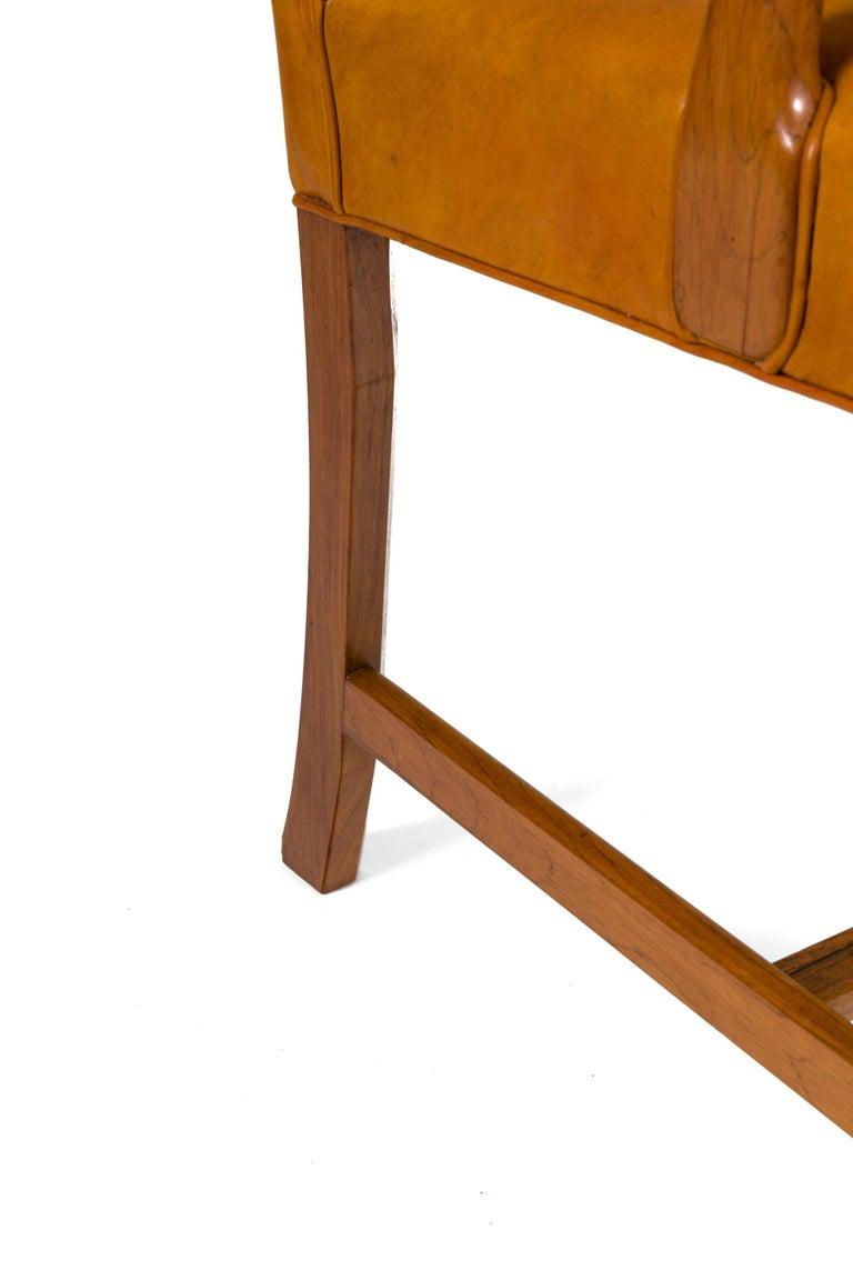 Borge Mogensen Vintage Leather High Back Arm Chair, Denmark 1947 For Sale 1