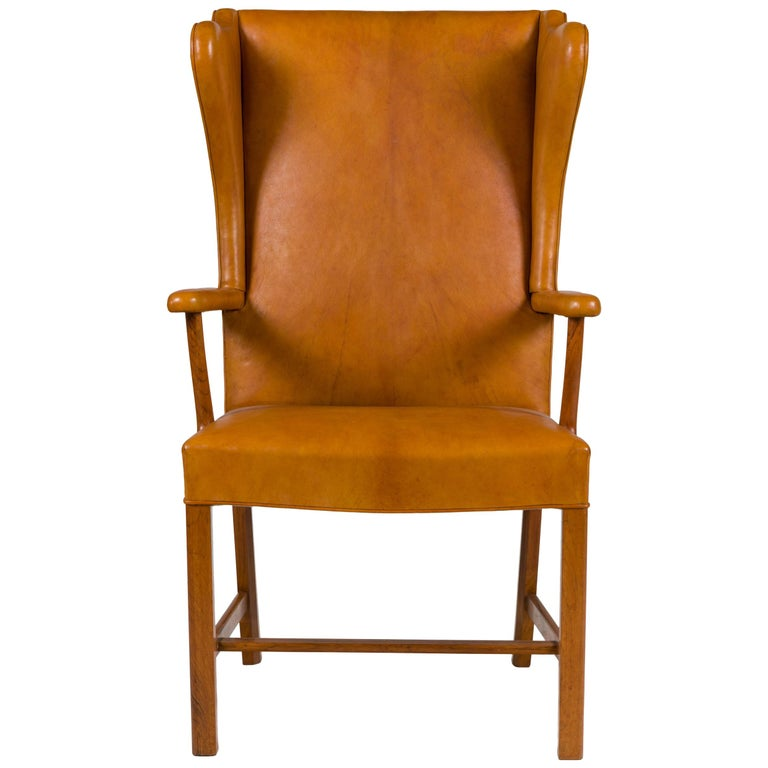 Borge Mogensen Vintage Leather High Back Arm Chair, Denmark 1947 For Sale