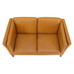 Borge Mogenson Tan Leather Loveseat Sofa Danish Mid-Century Modern
