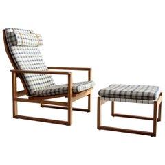 Borge Mognesen for Erhard Rasmussen Lounge Chair with Ottoman Denmark #2254