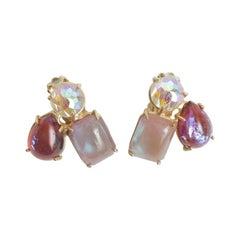 Boris Aurealis Crystal Clip On Earrings by Vogue Vintage