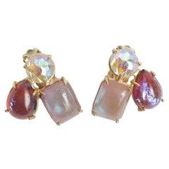 Boris Aurealis Crystal Clip On Earrings by Vogue Vintage