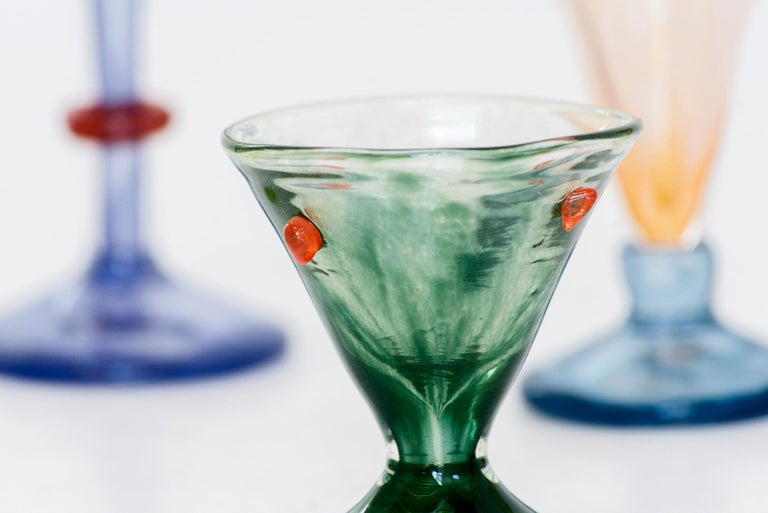 Boris De Beijer Blown Glass Carafe Glasses from the Series Coupes De Pompadour In New Condition For Sale In Barcelona, ES