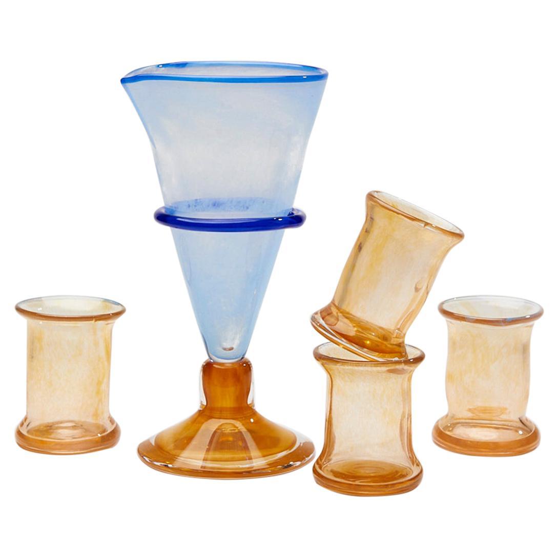 Boris De Beijer Blown Glass Carafe Glasses from the Series Coupes De Pompadour