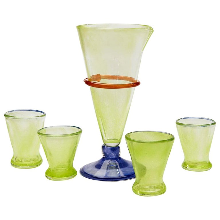 Boris De Beijer Colourful Carafe and Glasses from the Series Coupes De Pompadour For Sale