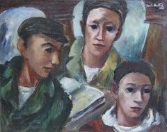 Three Young Men California WPA Figurative Modern Art Gay American Scene 1930s