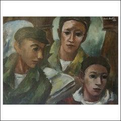 """Three Young Men,"" California WPA Figurative Modern Art Gay American Scene"