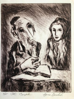 "Poignant Judaica Shtetl Scene ""The Couple"" Rabbi and Wife Etching Print ed. 25"
