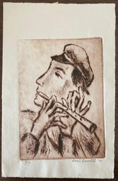 Shtetl Village Doodka Player Judaica Jewish California Modernist Artist Etching