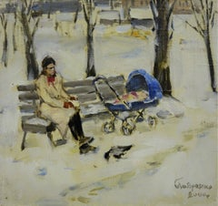 """Baby carriage in the park"" Mother's Day ,Child  oil cm. 27 x 25      2000"