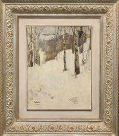 """""""Birch""""  Oil cm. 35 x 48 1984  Snow, Forest, white"""