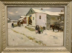 """Little shop in the village"" Oil cm 70 x 50 1980,Snow,Winter,white"