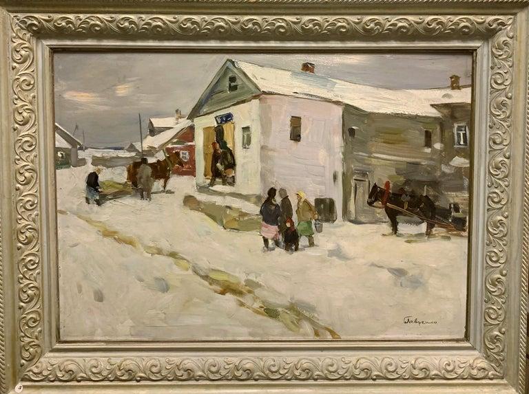 "Boris LAVRENKO Figurative Painting - ""Little shop in the village"" Oil cm 70 x 50 1980,Snow,Winter,white"