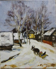 """On a sled"" ,Snow,Russia ,Winter,White    Oil  cm. 53 x 43"