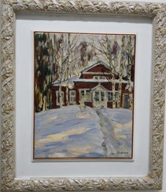"""Red house"" Snow, Forest, White, Red, Christmas, Russia Oil  cm. 34 x 43  1989"