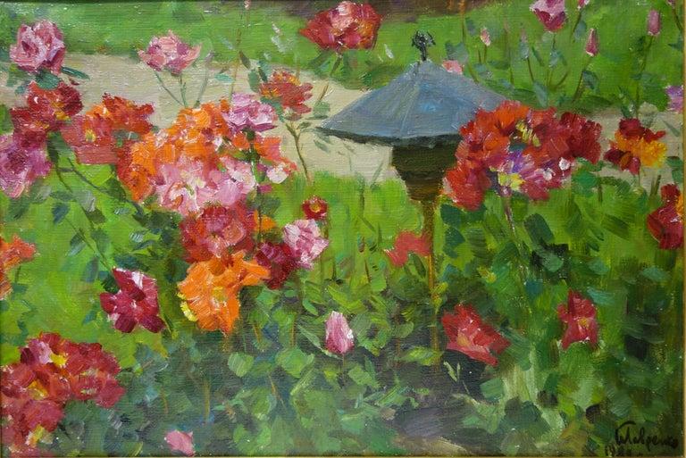 "Boris LAVRENKO Still-Life Painting - ""Rose garden""  Oil  63,5 x 43,5  1982"