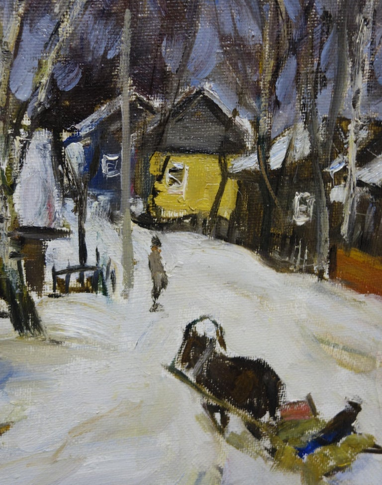 Sled in the snow (Russia)  cm. 43 x 53  oil 1990 - Painting by Boris LAVRENKO