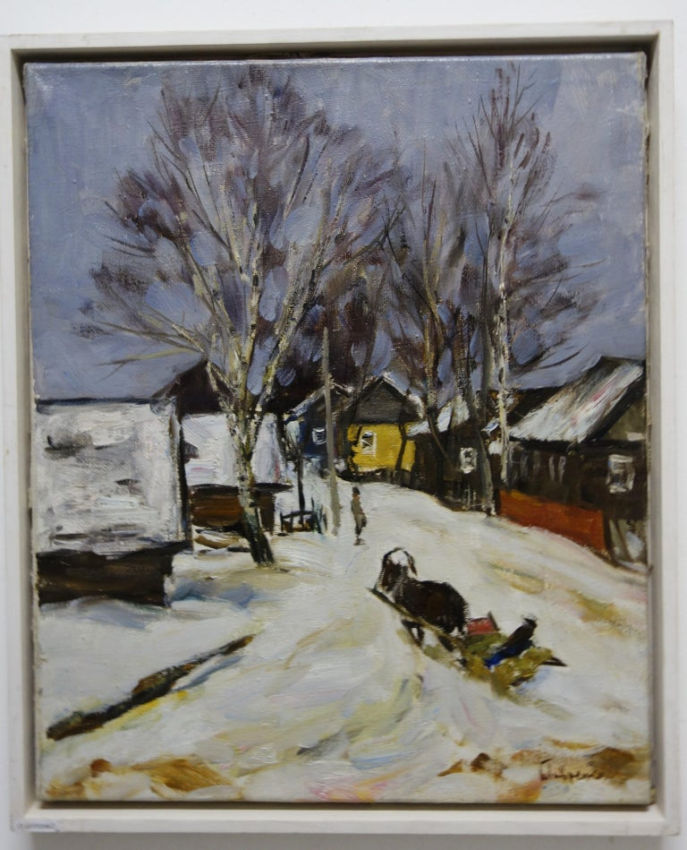 Boris LAVRENKO Landscape Painting - Sled in the snow (Russia)  cm. 43 x 53  oil 1990