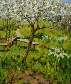 Trees in Bloom in my garden Green Garden Lavrenko Spring Oil cm 70 x 60 Canvas