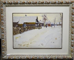 """Village in the snow""   Snow, white,landscape, Christmas  cm. 33 x 46  1974"