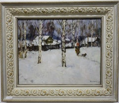 Winter,snow and my dog ,White,Dog,Snow   Oil  cm. 39 x 48  1978