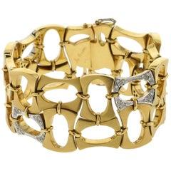 Boris LeBeau 18 Karat Retro Bracelet with .80 Carat of Diamonds