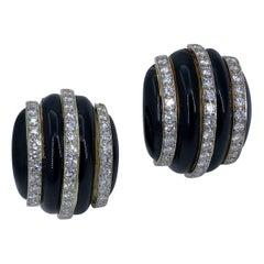 Boris LeBeau Diamond Enamel Gold Earrings