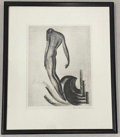 "Boris Lovet-Lorski Art Deco ""Nude Figure on Wave"" Signed Lithograph c.1930"