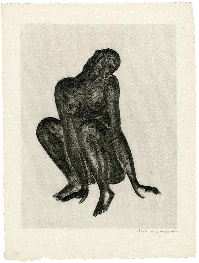Untitled (Black Woman Crouching) - Print by Boris Lovet-Lorski