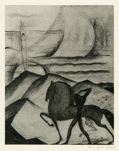 Untitled (Nude Couple with Horse in Mythical Landscape)