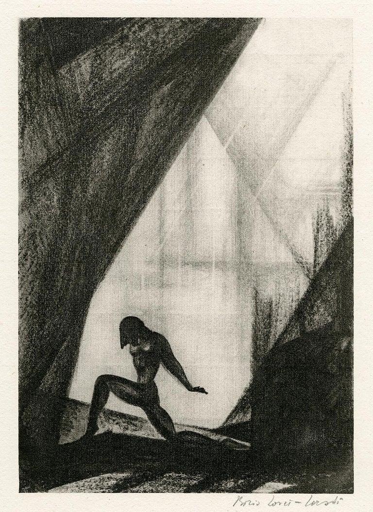 Boris Lovet-Lorski Nude Print - Untitled (Nude in Landscape)