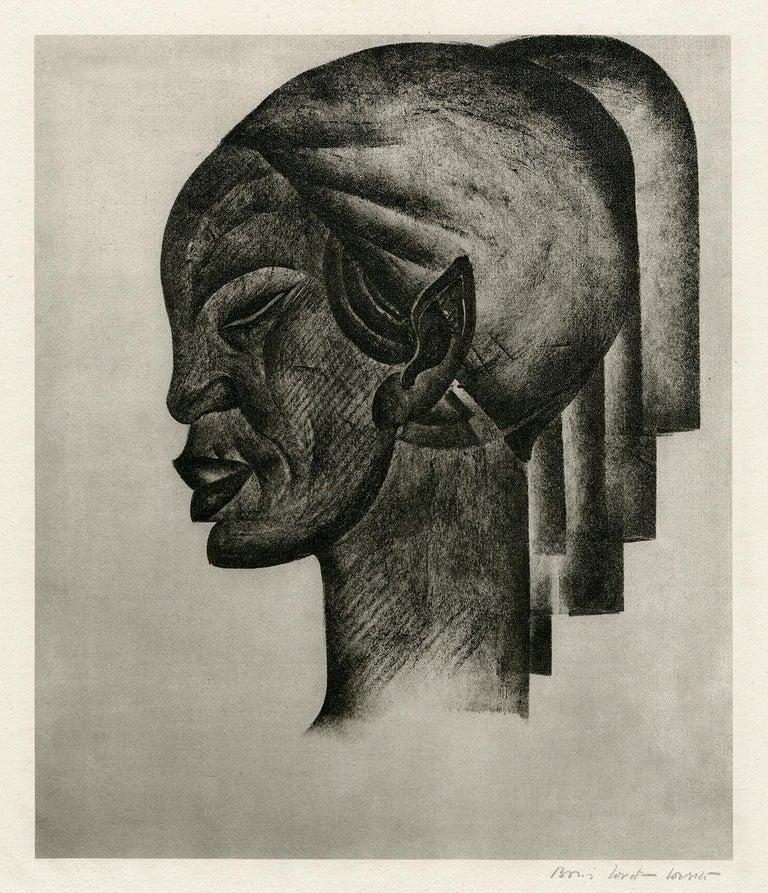 Boris Lovet-Lorski Figurative Print - Untitled (Profile of an African Woman)