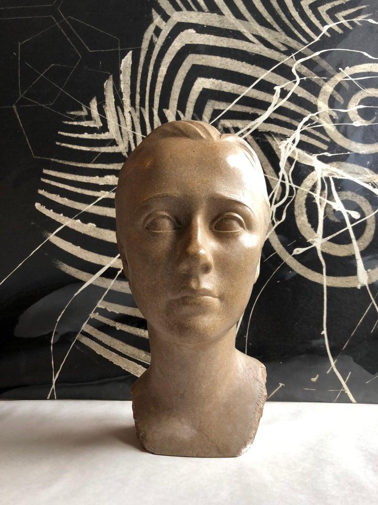 Art Deco Sculpture Flapper Womans Head Xenozane Marble Stone For Sale 7