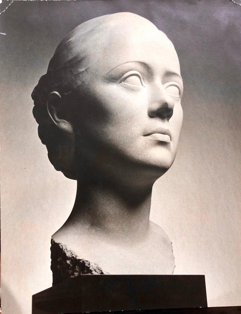 Art Deco Sculpture Flapper Womans Head Xenozane Marble Stone For Sale 9