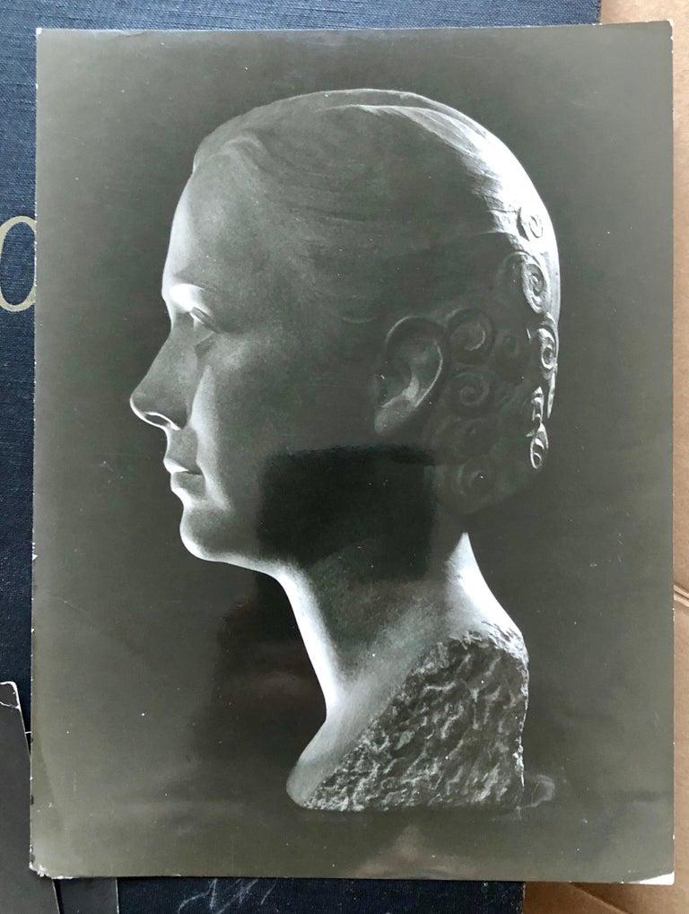 Art Deco Sculpture Flapper Womans Head Xenozane Marble Stone For Sale 10
