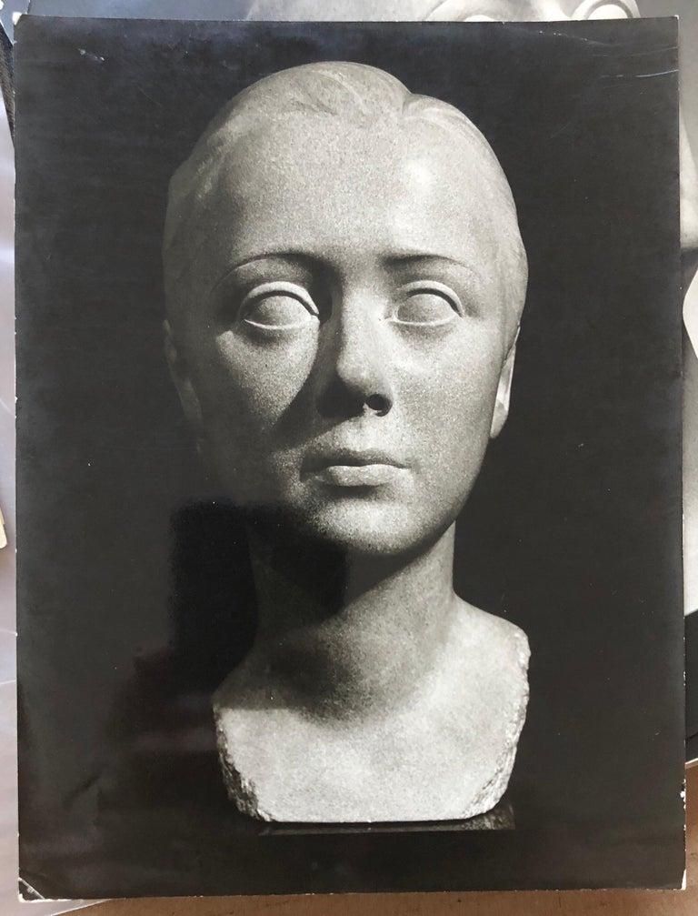 Art Deco Sculpture Flapper Womans Head Xenozane Marble Stone For Sale 11