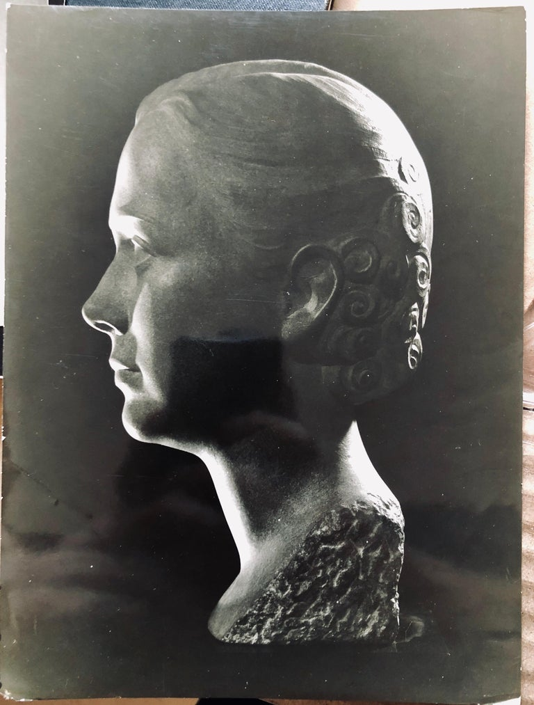 Art Deco Sculpture Flapper Womans Head Xenozane Marble Stone For Sale 12