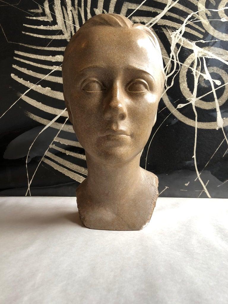 Art Deco Sculpture Flapper Womans Head Xenozane Marble Stone - Brown Figurative Sculpture by Boris Lovet-Lorski
