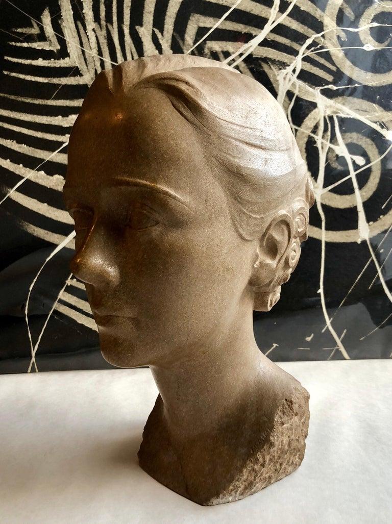 Art Deco Sculpture Flapper Womans Head Xenozane Marble Stone For Sale 1